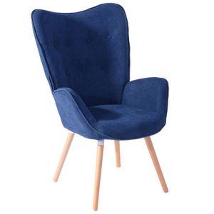 FAUTEUIL Fauteuil Chaise de Tissu Bleu Accoudoir Touffue, P