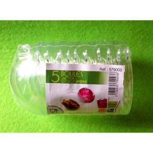BOULE DE NOËL Lot de 5 boules cristal plastique 7cm de diamètre