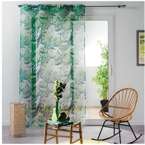 VOILAGE Voilage à Feuilles Tropicales Vert 140 x 240 cm