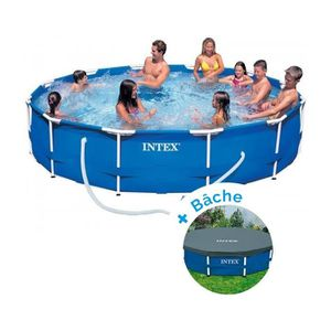 PISCINE Pack Piscine tubulaire Intex MetalFrame 3.66 x 0.7