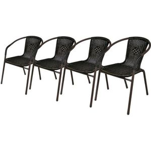 FAUTEUIL JARDIN  Lot de 4 chaises bistrot de jardin poly rotin moka