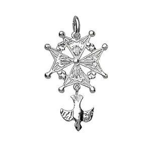 PENDENTIF VENDU SEUL Thabora - Pendentif argent croix Huguenote modèle