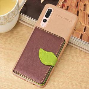 PORTE MONNAIE Housse en Cuir Magnétique Leaf Style pour Huawei P