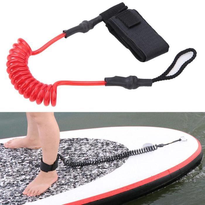 Durable TPU élastique pied corde laisse extensible pour planche de surf planche de paddle (rouge blanc) -JIA