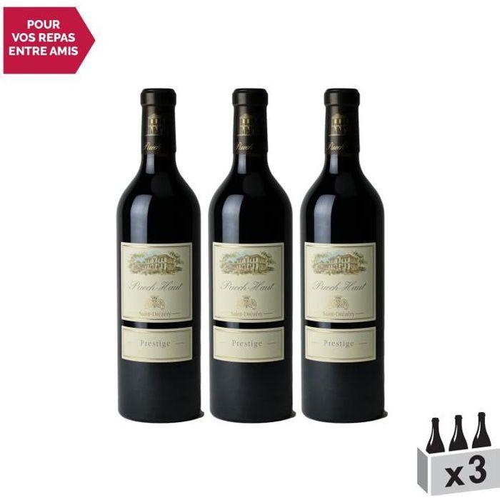 Château Puech Haut Prestige Rouge 2018 . Lot de 3x75cl . Appellation AOC Languedoc . Vin Rouge du Languedoc . Roussillon . Cépages