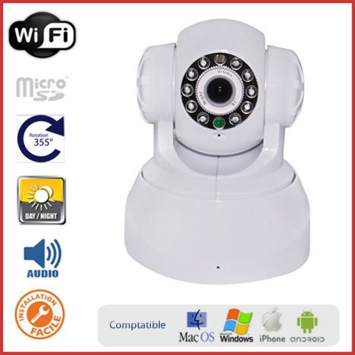 Caméra IP rotative motorisée intérieure, WIFI, haut-parleur, micro, emplacement pour carte mémoire et application mobile - Sécuri...