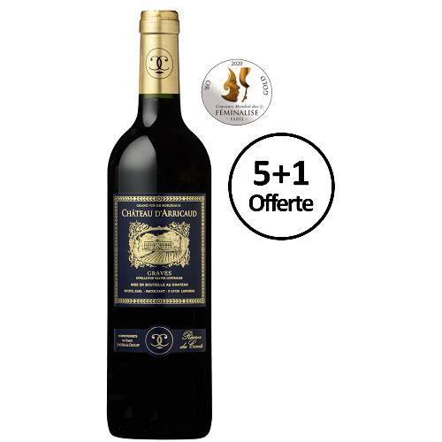 Réserve du Comte 2015 du Château d'Arricaud - lot de 6 bouteilles de 75cl - 5+1 offerte - Graves rouge - Bordeaux