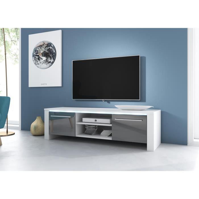 3xeLiving Meuble TV moderne Canaris blanc / gris brillant 140 cm