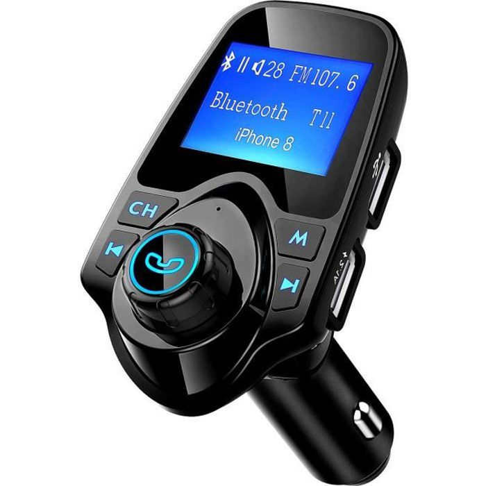 Transmetteur FM Bluetooth Voiture Sans Fil Mains-libres Adaptateur, Double Recharge USB, Micro SD/TF pour iPhone, Samsung,ect