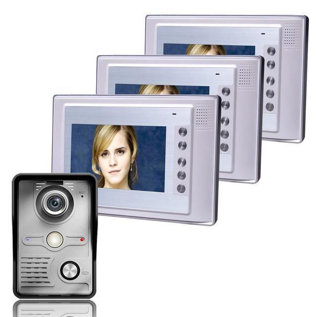 7 Inch Video Door Phone Doorbell Intercom Kit 1-camera 3-monitor Night Vision 700 TV line
