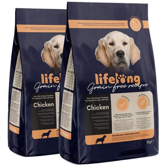 Marque Amazon - Lifelong Aliment complet pour chiens de races moyenne et grande sans céréale élaboré avec de la viande f 693786
