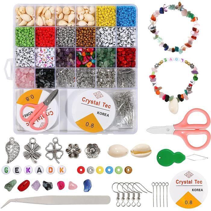 Bricolage Perles Bijoux,Perles pour Bracelet,Perles Plates,Perles Heishi,Perles Lettres Alphabet,Perle de Rocaille,Kit Perles p 5510