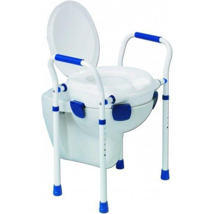 Elévateur de toilettes avec couvercle - Chaise WC - Pieds réglables - Accoudoirs - Max 150 kg
