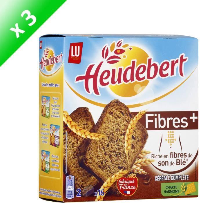 [LOT DE 3] HEUDEBERT Biscottes céréales complètes Fibres +