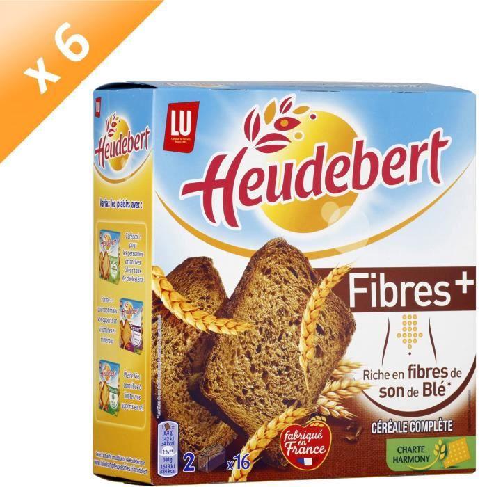 [LOT DE 6] HEUDEBERT Biscottes céréales complètes Fibres +