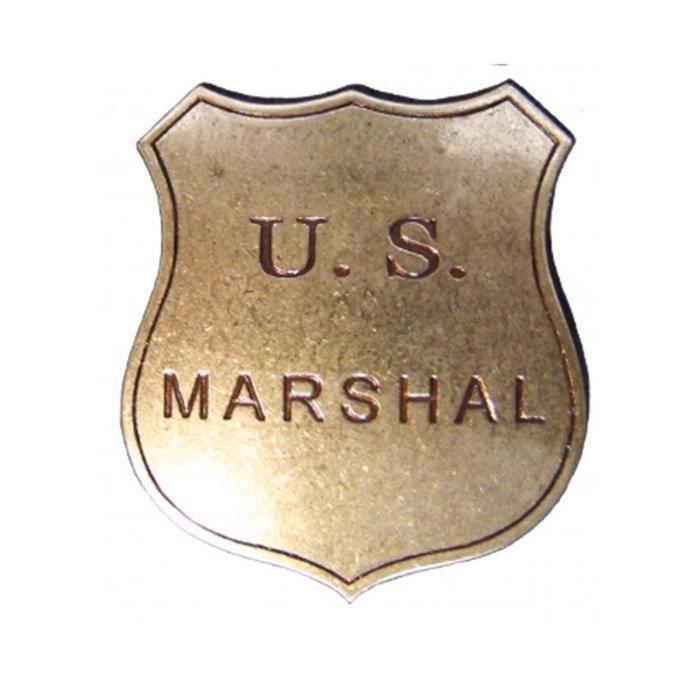 Réplique d'une plaque de service du US Marshal en métal, avec une aiguille pour la maintenir en place.
