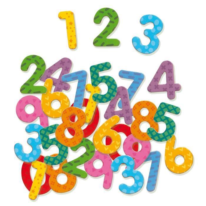 Nombres magnétiques en bois x 38 aille Unique Coloris Unique