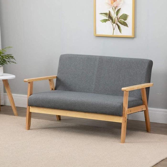 Canapé à 2 Places - Fauteuil Salon Scandinave Cadre en Bois Surface en Tissu Lin pour Petit Appartement Chambre Bureau (Gris Foncé)