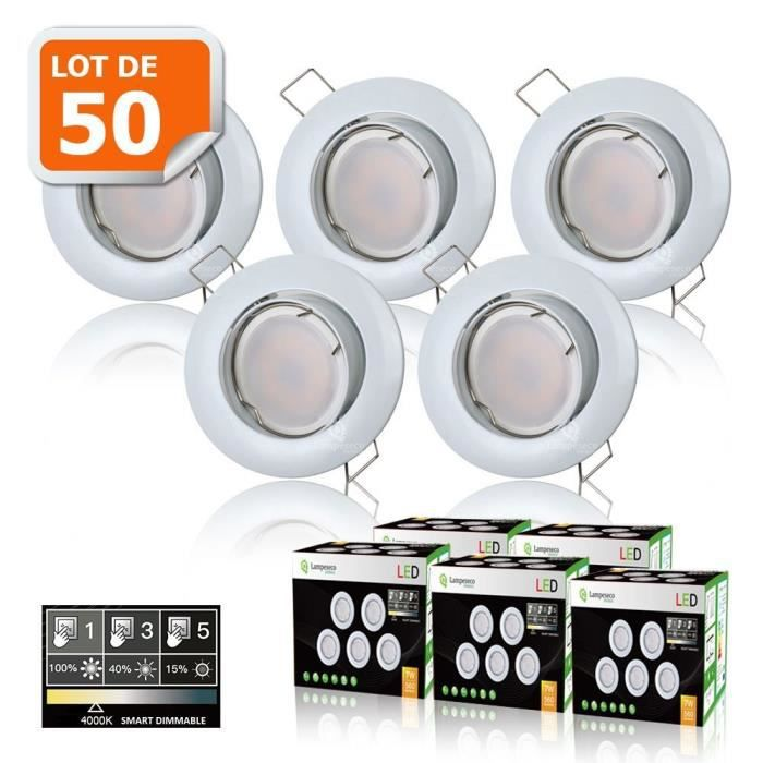 50 SPOTS LED DIMMABLE SANS VARIATEUR 7W eq.56w NEUTRE ORIENTABLE FINITION BLANC