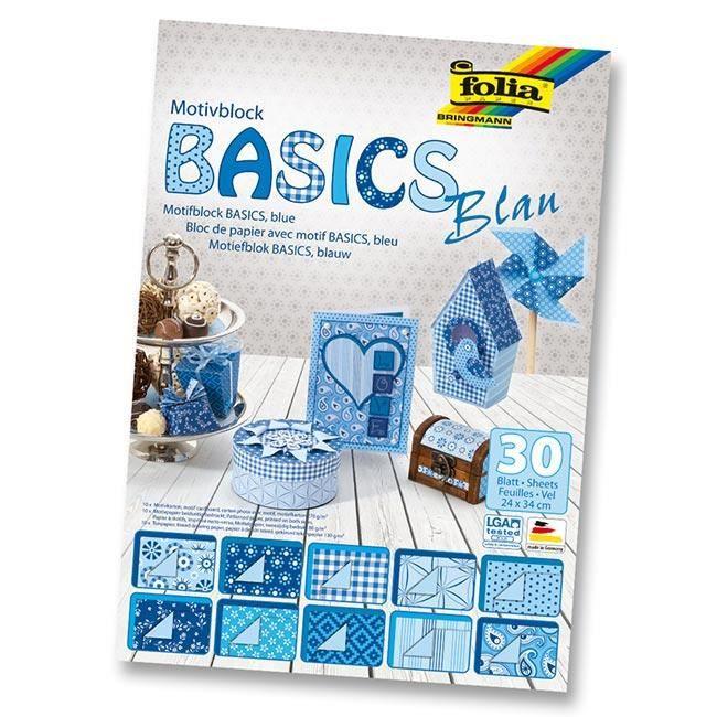 Bloc de papier dessin BASICS 30 feuilles bleues de 24 x 34 cm