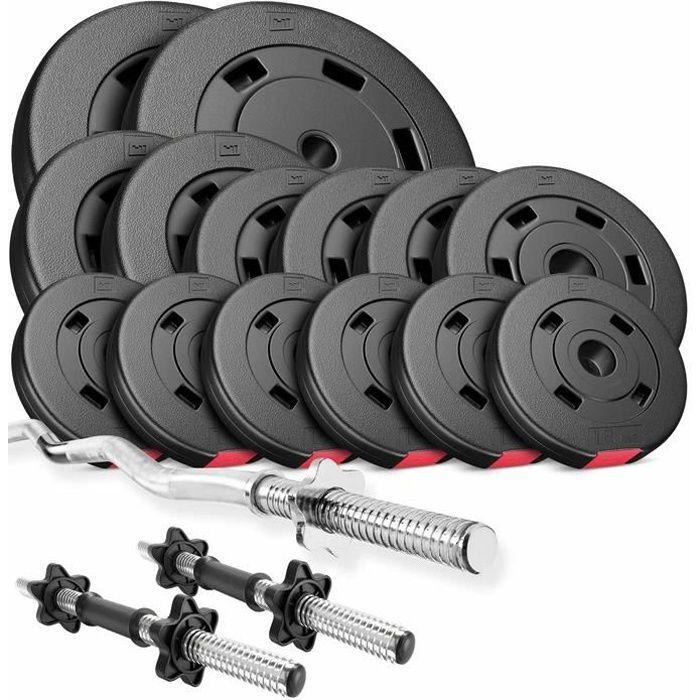 HS Hop-Sport Set PREMIUM de 56kg D (2x barre 45cm + 1x barre curl 120cm / 2x10kg+ 2x5kg + 4x2,5 + 6x1,25)