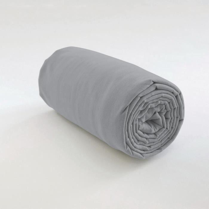 Drap housse uni Coton gris clair 140 x 190 x 35 cm Les Ateliers du Linge 140 X 190 X 35 GRIS CLAIR
