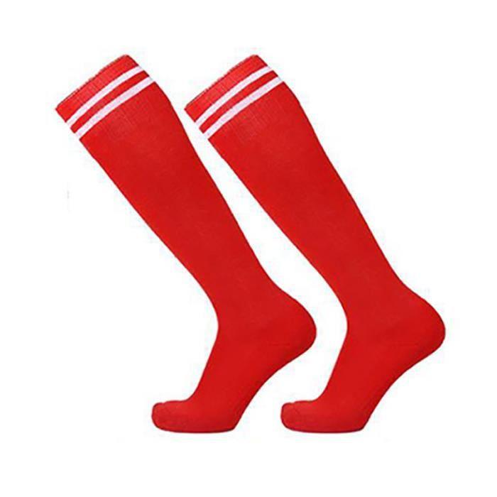 Chaussette de Football Section Mince Unisexe pour Homme Femme Garçon Fille, Genou Hautes Longue Chaussettes Sports Rayées Basketball