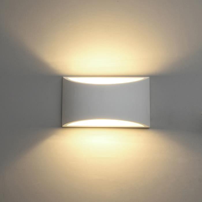 NETBOAT® Appliques Murales Interieur, Blanc Lampe Murale LED 5W Blanc Chaud Moderne Applique Murale en Plâtre(ampoule Inclure)