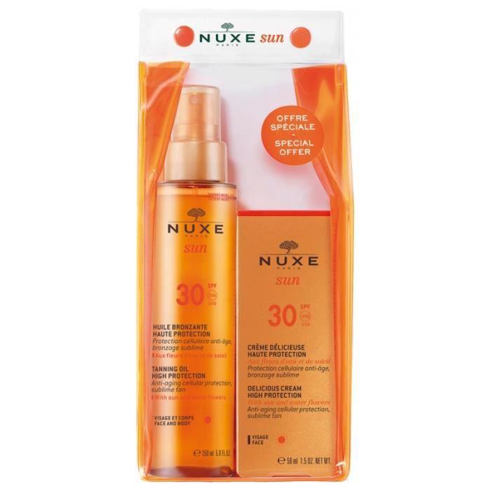 Sun Huile Bronzante Visage et Corps SPF30 150 ml + Sun Crème Délicieuse Visage Haute Protection SPF30 50 ml