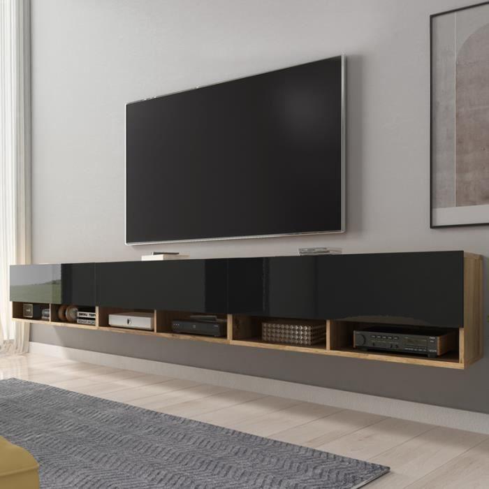Meuble TV / Meuble de salon - WANDER - 300 cm - sans LED - chêne wotan / noir brillant - design moderne