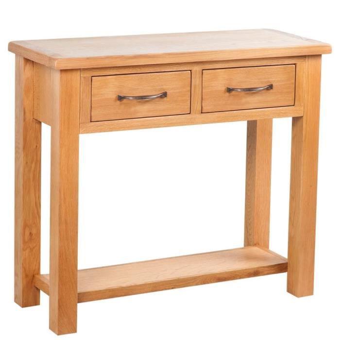 COMMODE DE CHAMBRE Table console avec 2 tiroirs 83 x 30 x 73 cm Chêne