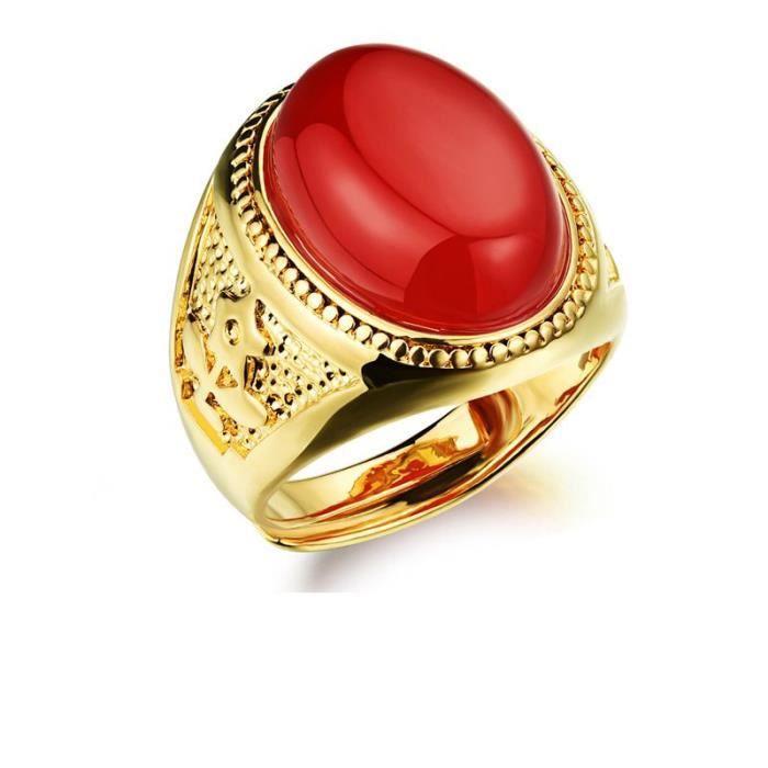 bague or avec pierre rouge homme