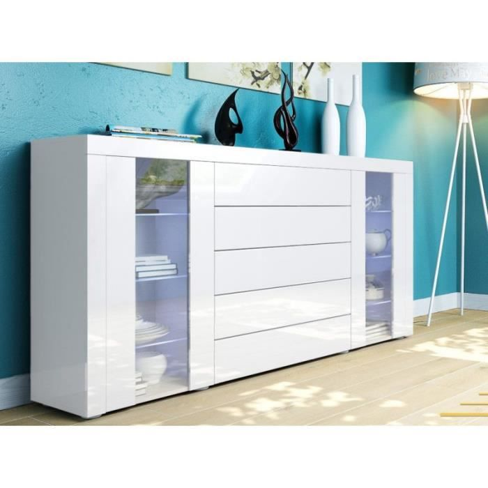 buffet design vitr blanc achat vente buffet bahut buffet design vitr blanc cdiscount. Black Bedroom Furniture Sets. Home Design Ideas