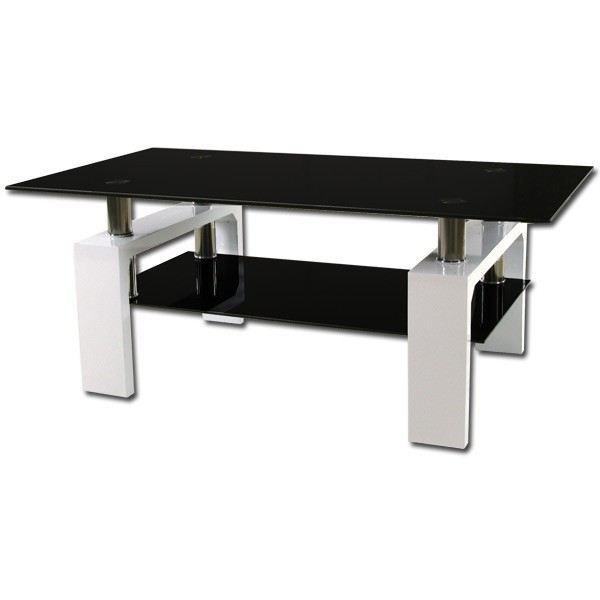 table basse blanc laqu et verres noir achat vente. Black Bedroom Furniture Sets. Home Design Ideas