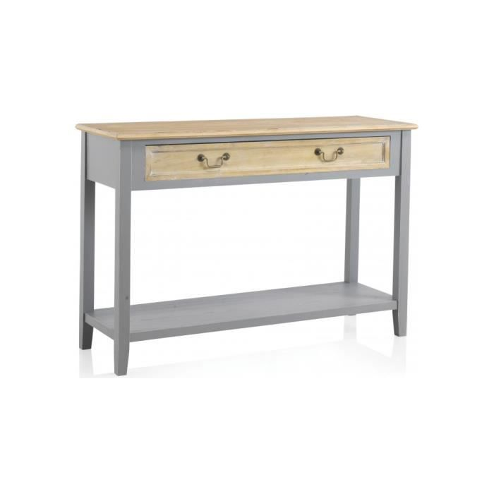console paulownia gris double plateau 1 tiroir capitello 120 gris achat vente console. Black Bedroom Furniture Sets. Home Design Ideas