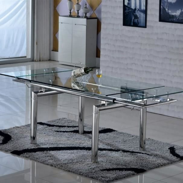 table en verre extensible inox santos achat vente. Black Bedroom Furniture Sets. Home Design Ideas