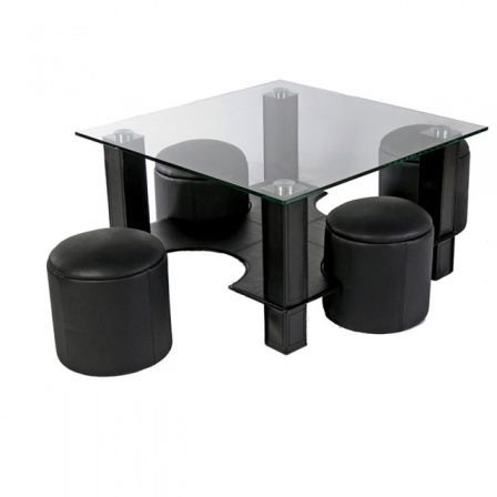 table basse en verre avec pouf noire yvelise achat vente table basse table basse en verre. Black Bedroom Furniture Sets. Home Design Ideas