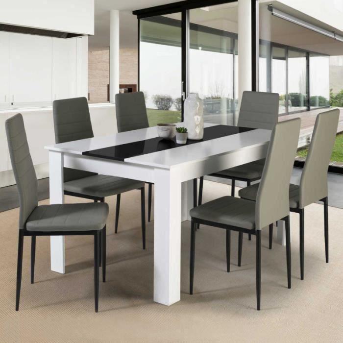 TABLE À MANGER SEULE Table à manger GEORGIA 6 personnes blanche et noir