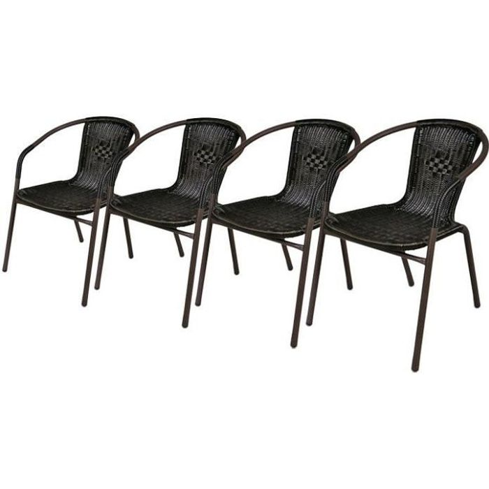 lot de 4 chaises bistrot de jardin poly rotin moka achat vente fauteuil jardin lot de 4. Black Bedroom Furniture Sets. Home Design Ideas
