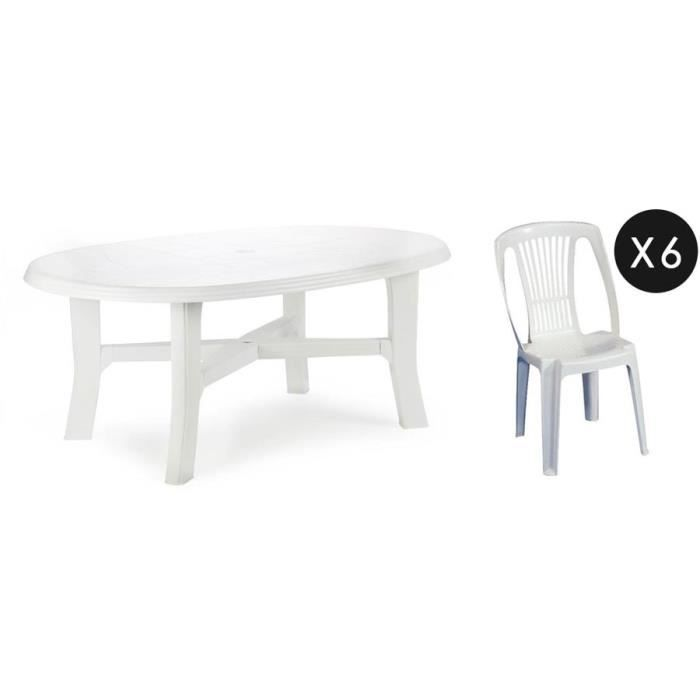 1 table ovale 6 chaises en plastique blanc achat. Black Bedroom Furniture Sets. Home Design Ideas
