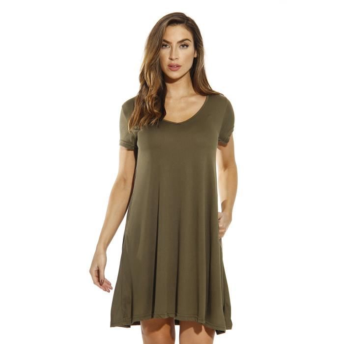Femmes Robe Trapeze Modal Robes Pour Jyexo Taille 46 Vert Achat Vente Robe Bientot Le Black Friday Cdiscount