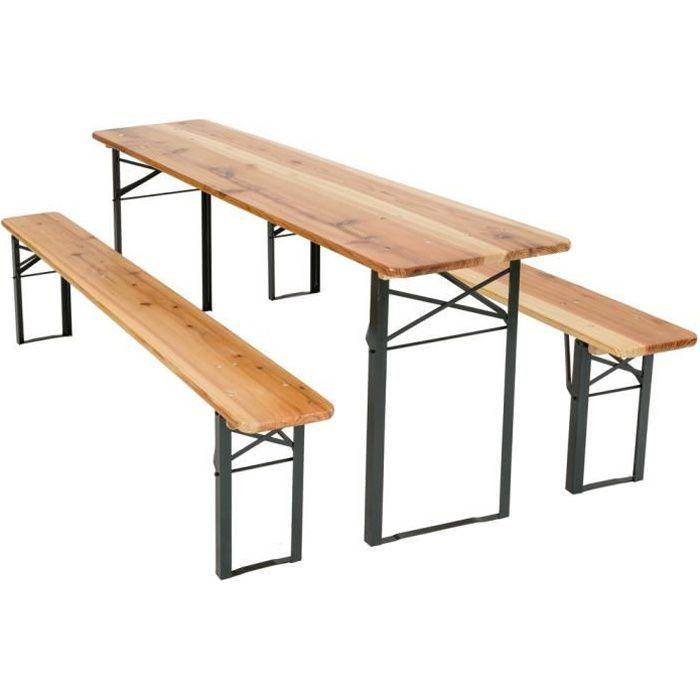 TECTAKE Table et bancs pliant en bois, Table de Jardin, Table de Réception,  Table de Camping