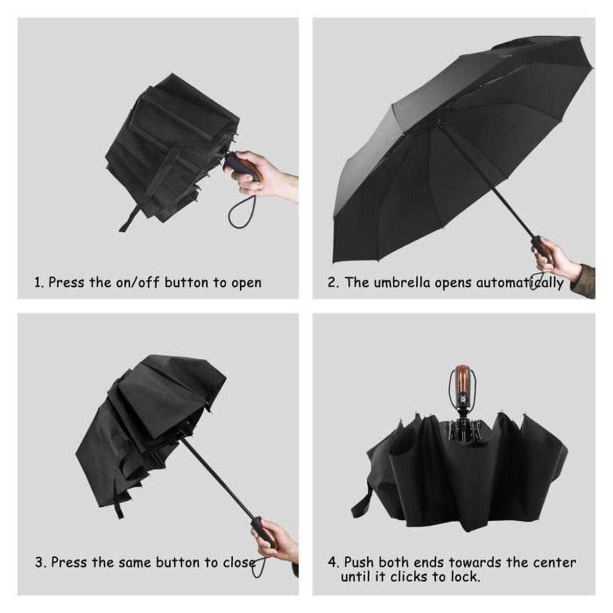 Incassable L/éger 10 Baleines Parapluie de Voyage Ouverture et Fermeture Automatique avec Rev/êtement en T/éflon pour Hommes et Femmes Imperm/éable /à leau Parapluie Pliant Heasy Parapluie Coupe-Vent