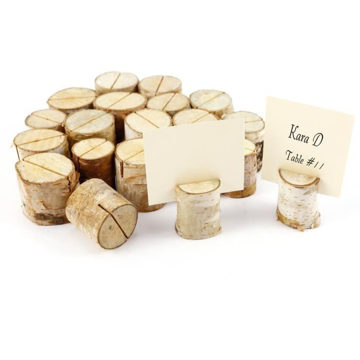 20pcs stand en bois de bouleau support photo m mo carte for Porte nom de table