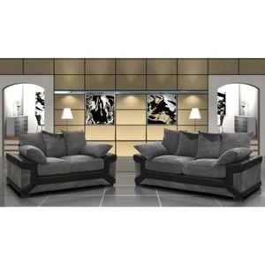 ENSEMBLE CANAPES Ensemble canapé 3+2 places gris et noir confortabl