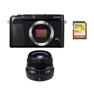 APPAREIL PHOTO RÉFLEX FUJI X-E3 Black + XF 35MM F2 R WR Black + 64GB SD