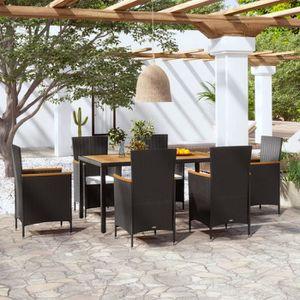 SALON DE JARDIN  vidaXL Mobilier à dîner de jardin 7 pcs avec couss