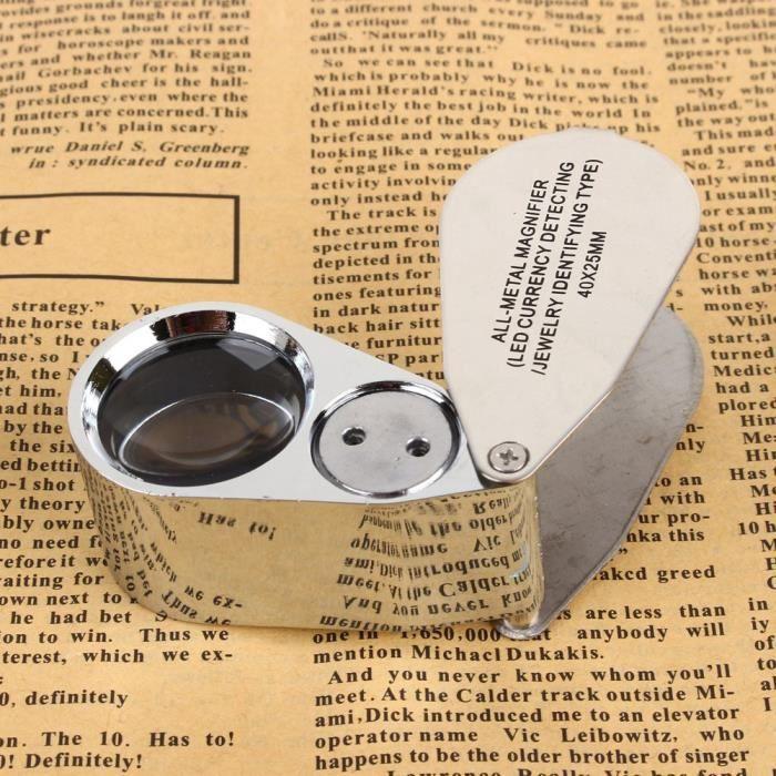40X LED Loupe en verre grossissant Bijoux avec loupe pour oeil bijoutier boîte pour outil d'évaluation