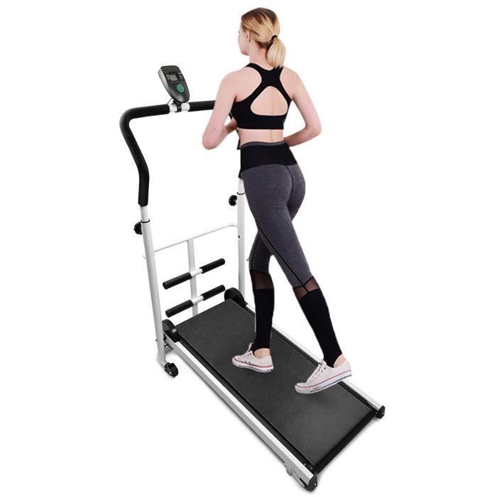 AUBAYS®Tapis roulant mécanique avec barre abdominale, Charge maximale: 100 kg,noir