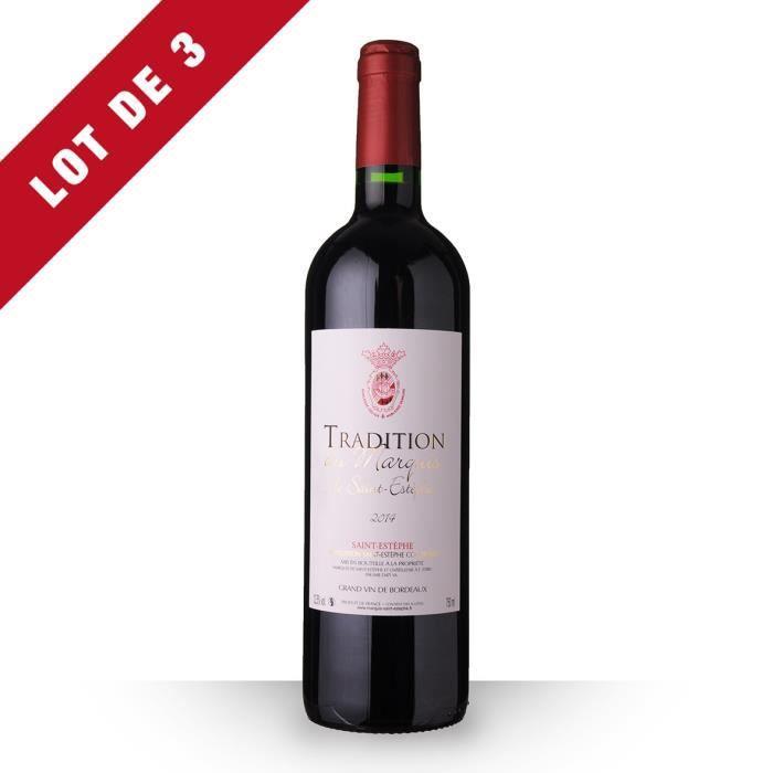 3X Tradition du Marquis 2014 Rouge 75cl AOC Saint-Estèphe - Vin Rouge
